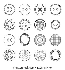 Set of 16 decorative black and white icons of sewing and craft buttons