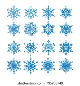 Set of 16 decorative blue snowflakes. Snowflakes icon. Vector illustration.