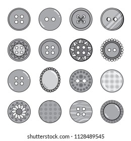 Set of 16 decorative grayscale icons of sewing and craft buttons