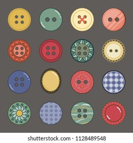Set of 16 decorative icons of sewing and craft buttons in vintage colors