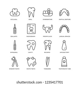 Set Of 16 Dentist linear icons such as Toothpaste tube, Tweezers, White teeth, Wisdom tooth, Apicoectomy, Occlusal, Sealants, Intraoral, Prophylaxis, editable stroke icon pack, pixel perfect