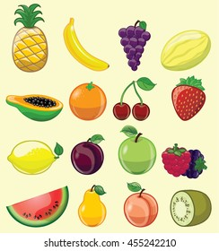 Set of 16 different fruits