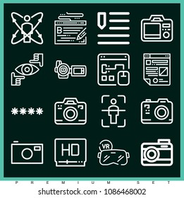 Set of 16 digital outline icons such as focus, password, camera, camera, high definition, camcorder, augmented reality, body scan, digital marketing