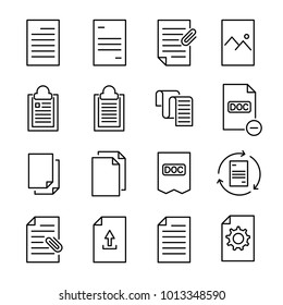 Set of 16 document thin line icons. High quality pictograms of file. Modern outline style icons collection. Data, bureaucracy, paper, business, etc.