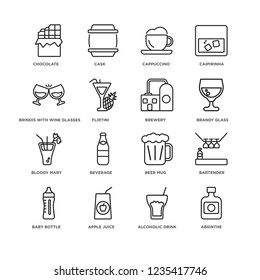 Set Of 16 drinks linear icons such as Absinthe, Alcoholic drink, Chocolate, Baby bottle, Bartender, Beer mug, Beverage, Cask, editable stroke icon pack, pixel perfect