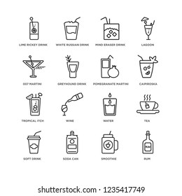Set Of 16 drinks linear icons such as Rum, Smoothie, Soda can, Soft drink, Tea, Lime Rickey 007 Martini, Tropical Itch, Pomegranate editable stroke icon pack, pixel perfect