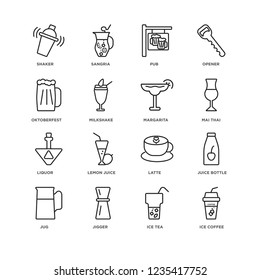 Set Of 16 drinks linear icons such as Ice coffee, Tea, Jigger, Jug, Juice bottle, Shaker, Oktoberfest, Liquor, Margarita, editable stroke icon pack, pixel perfect