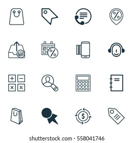 Set Of 16 E-Commerce Icons. Includes Mobile Service, Ticket, Calculator And Other Symbols. Beautiful Design Elements.