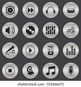 Set Of 16 Editable Audio Icons. Includes Symbols Such As Music Phone, Disc, Sound And More. Can Be Used For Web, Mobile, UI And Infographic Design.