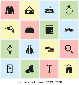 Set Of 16 Editable Business Icons. Includes Symbols Such As Cardigan, Footwear, Explicit And More. Can Be Used For Web, Mobile, UI And Infographic Design.