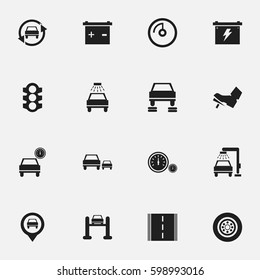 Set Of 16 Editable Car Icons. Includes Symbols Such As Automobile, Vehicle Wash, Speed Display And More. Can Be Used For Web, Mobile, UI And Infographic Design.