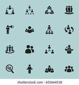Set Of 16 Editable Community Icons. Includes Symbols Such As Leadership, Speaker, Talking Man And More. Can Be Used For Web, Mobile, UI And Infographic Design.