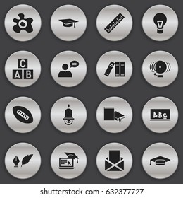 Set Of 16 Editable Education Icons. Includes Symbols Such As Literature, Lamp, Graduation Hat And More. Can Be Used For Web, Mobile, UI And Infographic Design.