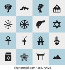Set Of 16 Editable Faith Icons. Includes Symbols Such As Temple, Sajdah, Bible And More. Can Be Used For Web, Mobile, UI And Infographic Design.
