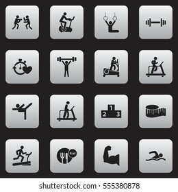 Set Of 16 Editable Fitness Icons. Includes Symbols Such As Jogging, Training Bike, Platform For Winner And More. Can Be Used For Web, Mobile, UI And Infographic Design.