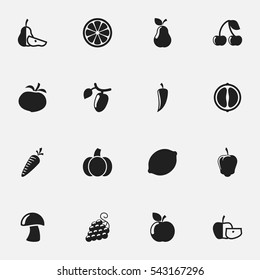 Set Of 16 Editable Food And Vegetable Icons. Includes Symbols Such As Lime, Orange Slice, Sweet Pepper And More. Can Be Used For Web, Mobile, UI And Infographic Design.