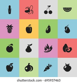 Set Of 16 Editable Fruits Icons. Includes Symbols Such As Delicious, Sweet Pepper, Honeycrisp And More. Can Be Used For Web, Mobile, UI And Infographic Design.