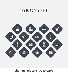Set Of 16 Editable Hotel Icons. Includes Symbols Such As Tv, Employee, Townhouse And More. Can Be Used For Web, Mobile, UI And Infographic Design.
