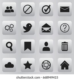 Set Of 16 Editable Internet Icons. Includes Symbols Such As Letter, Network, Dove And More. Can Be Used For Web, Mobile, UI And Infographic Design.