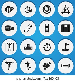 Set Of 16 Editable Lifestyle Icons. Includes Symbols Such As Jump Training, Cloth Ruler, Jogging And More. Can Be Used For Web, Mobile, UI And Infographic Design.