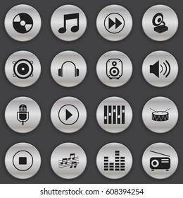 Set Of 16 Editable Media Icons. Includes Symbols Such As Music, Bar Wave, Disc And More. Can Be Used For Web, Mobile, UI And Infographic Design.