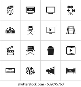 Set Of 16 Editable Movie Icons. Includes Symbols Such As Cinema Snack, Camera Strip, Movie Player And More. Can Be Used For Web, Mobile, UI And Infographic Design.