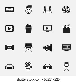Set Of 16 Editable Movie Icons. Includes Symbols Such As Loudspeaker, Tablet Play, Theater Agency And More. Can Be Used For Web, Mobile, UI And Infographic Design.