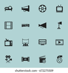 Set Of 16 Editable Movie Icons. Includes Symbols Such As Video, Reel, Presentation And More. Can Be Used For Web, Mobile, UI And Infographic Design.
