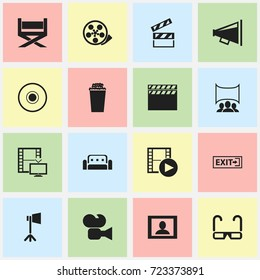 Set Of 16 Editable Movie Icons. Includes Symbols Such As Episode, Camcorder, Screen And More. Can Be Used For Web, Mobile, UI And Infographic Design.