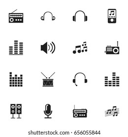 Set Of 16 Editable Mp3 Icons. Includes Symbols Such As Musical Sign, Bar Wave, Retro Tuner And More. Can Be Used For Web, Mobile, UI And Infographic Design.