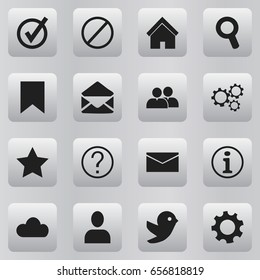 Set Of 16 Editable Network Icons. Includes Symbols Such As Faq, Dove, Group And More. Can Be Used For Web, Mobile, UI And Infographic Design.