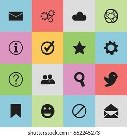 Set Of 16 Editable Network Icons. Includes Symbols Such As Bookmark, Quiz, Magnifier And More. Can Be Used For Web, Mobile, UI And Infographic Design.