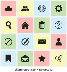 Set Of 16 Editable Network Icons. Includes Symbols Such As Home, Group, Bookmark And More. Can Be Used For Web, Mobile, UI And Infographic Design.