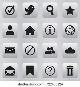 Set Of 16 Editable Network Icons. Includes Symbols Such As Bookmark, Network, Profile And More. Can Be Used For Web, Mobile, UI And Infographic Design.