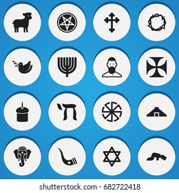 Set Of 16 Editable Religion Icons. Includes Symbols Such As Solar Emblem, Sajdah, Hexagram And More. Can Be Used For Web, Mobile, UI And Infographic Design.