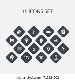 Set Of 16 Editable Religion Icons. Includes Symbols Such As Minaret, Pope Headwear, Orator Tribune And More. Can Be Used For Web, Mobile, UI And Infographic Design.