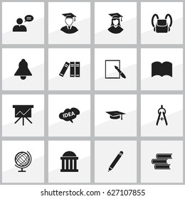 Set Of 16 Editable School Icons. Includes Symbols Such As Math Tool, Dictionary, Graduation Hat And More. Can Be Used For Web, Mobile, UI And Infographic Design.