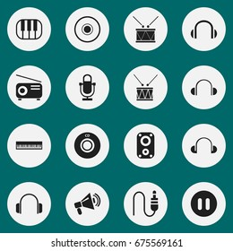 Set Of 16 Editable Song Icons. Includes Symbols Such As Headphones, Recorder, Stereo Plug And More. Can Be Used For Web, Mobile, UI And Infographic Design.