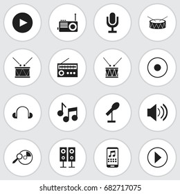 Set Of 16 Editable Sound Icons. Includes Symbols Such As Retro Tuner, Timpano, Smartphone And More. Can Be Used For Web, Mobile, UI And Infographic Design.