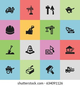 Set Of 16 Editable Structure Icons. Includes Symbols Such As Camion, Elevator, Facing And More. Can Be Used For Web, Mobile, UI And Infographic Design.