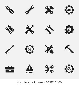 Set Of 16 Editable Toolkit Icons. Includes Symbols Such As Fix Tool, Screwdriver, Build Equipment And More. Can Be Used For Web, Mobile, UI And Infographic Design.