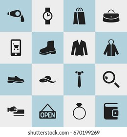 Set Of 16 Editable Trade Icons. Includes Symbols Such As Necktie, E-Commerce, Package And More. Can Be Used For Web, Mobile, UI And Infographic Design.