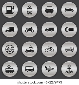 Set Of 16 Editable Transport Icons. Includes Symbols Such As Shipping, Luminary, Van And More. Can Be Used For Web, Mobile, UI And Infographic Design.