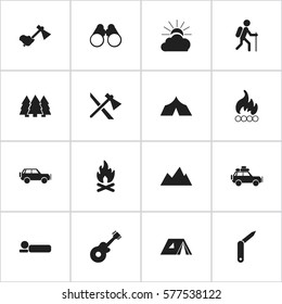 Set Of 16 Editable Trip Icons. Includes Symbols Such As Clasp-Knife, Musical Instrument, Blaze And More. Can Be Used For Web, Mobile, UI And Infographic Design.