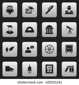 Set Of 16 Editable University Icons. Includes Symbols Such As Diplomaed Male, Blackboard, Semicircle Ruler And More. Can Be Used For Web, Mobile, UI And Infographic Design.