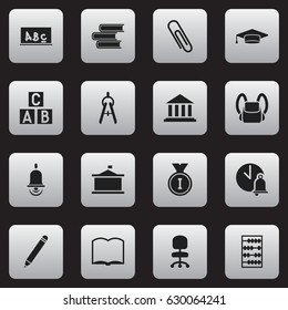 Set Of 16 Editable University Icons. Includes Symbols Such As Schoolbag, School Bell, Arithmetic And More. Can Be Used For Web, Mobile, UI And Infographic Design.