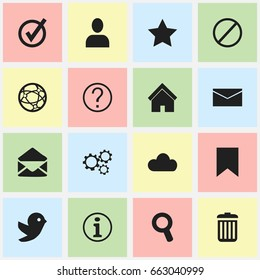Set Of 16 Editable Web Icons. Includes Symbols Such As Dove, Faq, Gear And More. Can Be Used For Web, Mobile, UI And Infographic Design.