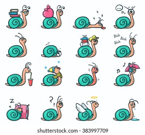 Set of 16 emoji stickers of cute snails in different mood - vector illustration