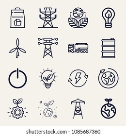 Set of 16 energy outline icons such as barrel, power, energy saving, fuel truck, charcoal, ecology, planet earth, lightbulb, planet, environment, electric tower