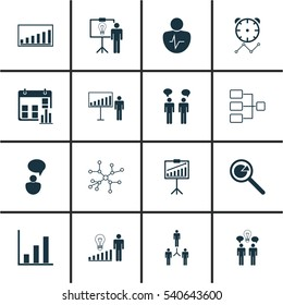 Set Of 16 Executive Icons. Includes Presentation Date, Co-Working, Conversation And Other Symbols. Beautiful Design Elements.